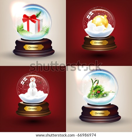 Christmas Crystal Snow Ball set with balls, gift, fur tree and snowman