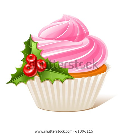 Christmas cupcake with mistletoe