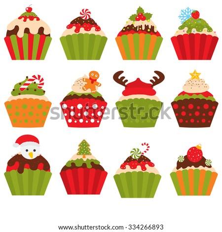 Stock Photo Christmas cupcakes set. Vector illustration