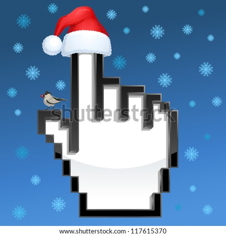 Christmas cursor hand with Santa Clause's hat and a small bird on snowflake background