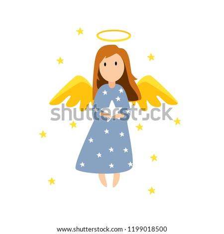 christmas cute angel vector