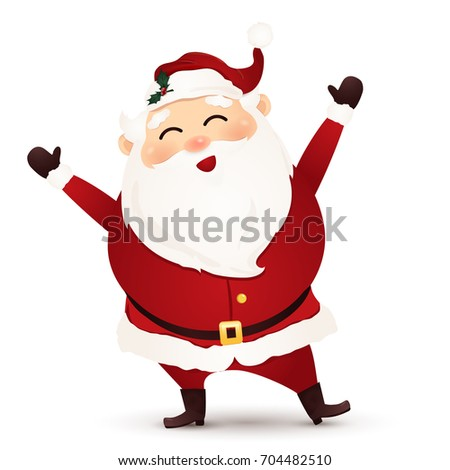 Christmas Cute, Cheerful ,funny Santa Claus waving hands isolated on white background. Santa clause. Vector cartoon illustration.