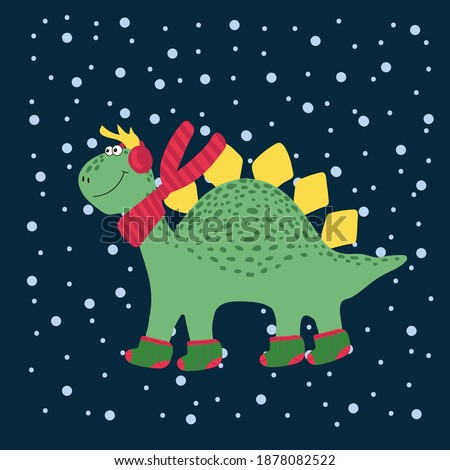 christmas cute dinosaur winter