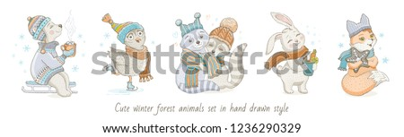 Christmas cute forest animals: bear, owl, raccoon couple, rabbit, fox. Hand drawn trendy doodle icon set. Merry Xmas & Happy New year cartoon sketch. Watercolor vector illustration isolated on white