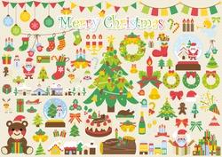 Christmas cute icons, Christmas tree, Santa Claus