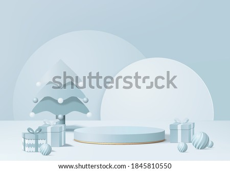 Christmas 3d minimal rendered scene with gift box and podium platform. Christmas tree background vector 3d rendering with gold podium. stand to show products. Christmas 3d showcase on pedestal blue