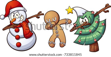 Christmas dabbing characters. Vector clip art illustration with simple gradients. Each on a separate layer.