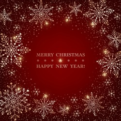 Christmas dark red background with sparkling golden snowflakes. Design element for greeting card, invitation or poster