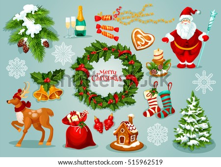 Christmas Day Set Icons - Download Free Vector Art, Stock Graphics ...