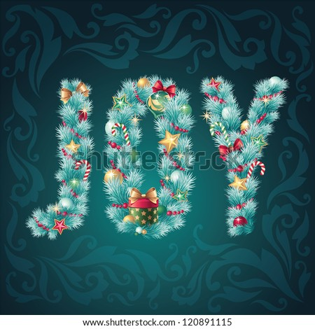christmas decorated title joy greeting card