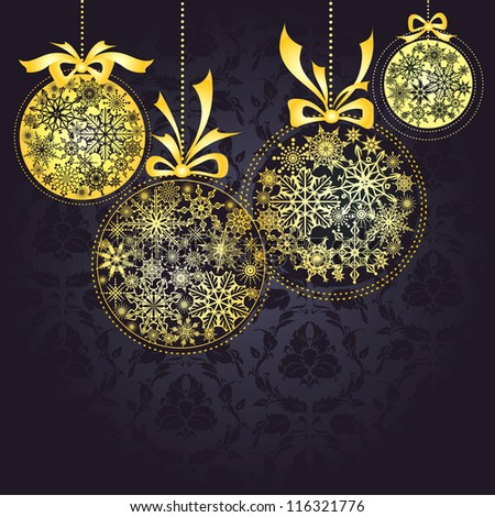 Christmas decoration background with golden calls