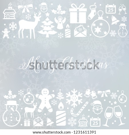 Christmas decoration - background with winter and Christmas symbols. Can be used for web or print.