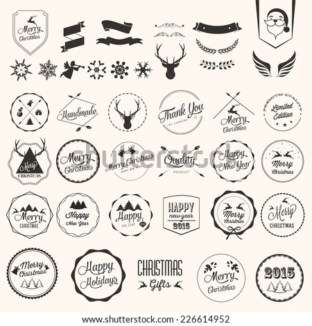 Christmas decoration collection of calligraphic and typographic design with labels.