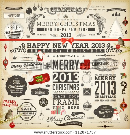 Christmas decoration collection | Set of calligraphic and typographic elements, frames, vintage labels. Ribbons, stickers, Santa and snowman, birds on a fur-tree branches with balls - all for design.