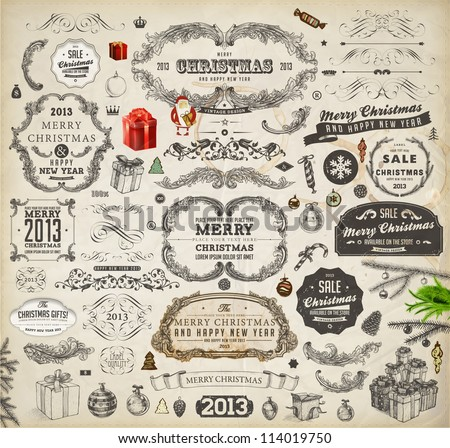 Christmas decoration collection | Set of calligraphic and typographic elements, frames, vintage labels. Ribbons, stickers, garland, hand drawn gifts, Santa and fur-tree branches with balls. Vector.