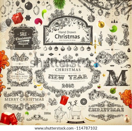 Christmas decoration collection | Set of calligraphic and typographic elements, frames, vintage labels. Ribbons, stickers, Santa and deer, gifts on a fur-tree branches with balls - all for design.