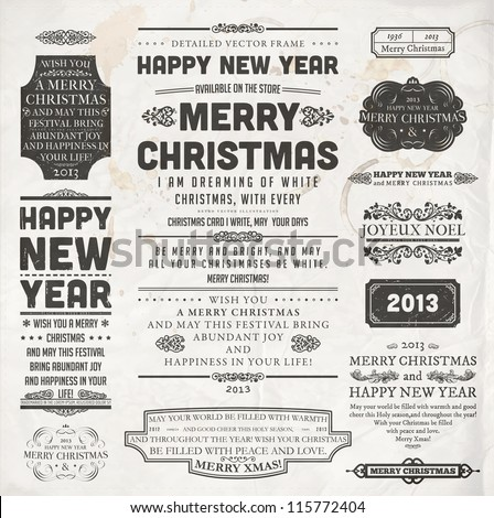 Christmas decoration collection Set of calligraphic and typographic elements frames vintage labels and borders Floral ornaments and old paper texture All for holiday invitation design