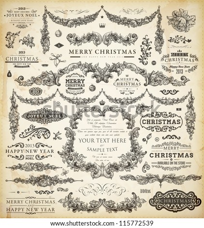 Christmas decoration collection Set of calligraphic and typographic elements frames vintage labels ribbons borders holly berries and Xmas balls All ornaments for holiday invitation design.