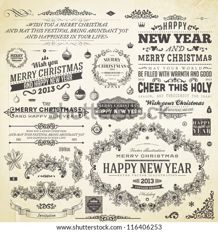 Christmas decoration collection | Set of calligraphic and typographic elements, frames, vintage labels. Ribbons, flower, balls, borders, retro ornaments and patterns. Vector.