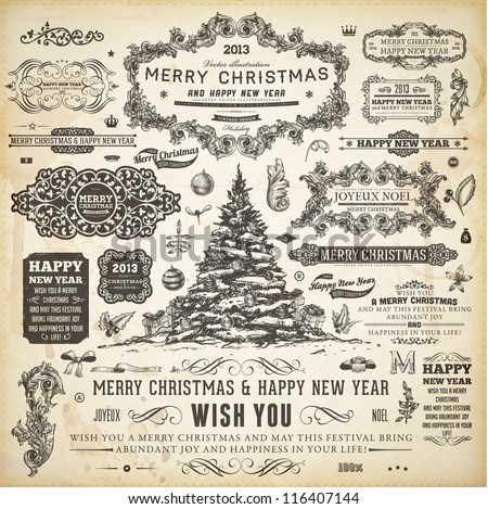 Christmas decoration collection Set of calligraphic and typographic elements frames vintage labels ribbons borders holly berries fir-tree branches and balls All for holiday invitation design
