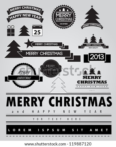 Christmas decoration collection. Set of calligraphic and typographic elements, frames, vintage labels.