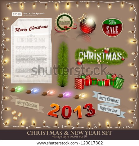 Christmas decoration collection. Set of calligraphic and typographic elements, frames, vintage labels. Ribbons, stickers, fur-tree branches with balls - all for design.