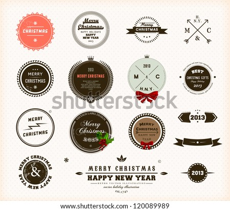 Christmas decoration collection | Set of calligraphic and typographic elements, frames, vintage circle labels, ribbons, borders, holly berries and snowflakes. All for holiday invitation design.