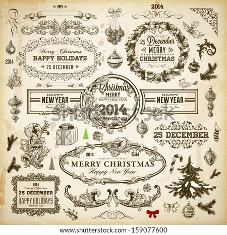 Christmas decoration collection Set of calligraphic and typographic elements frames vintage labels Ribbons borders wreath and Christmas tree bird and engraving Xmas baubles Holiday Vector
