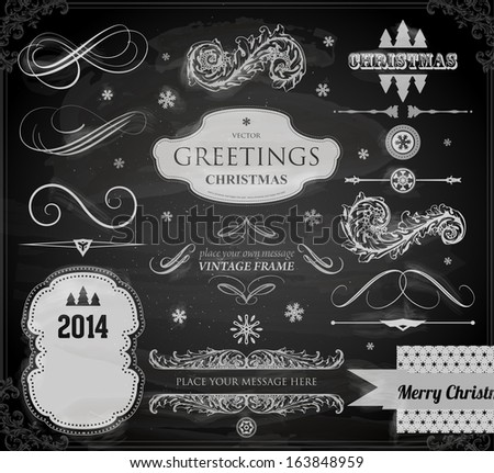 Christmas decoration collection Set of calligraphic and typographic elements frames vintage labels Ribbons stickers borders balls snowflakes Chalkboard decorations design Chalk texture