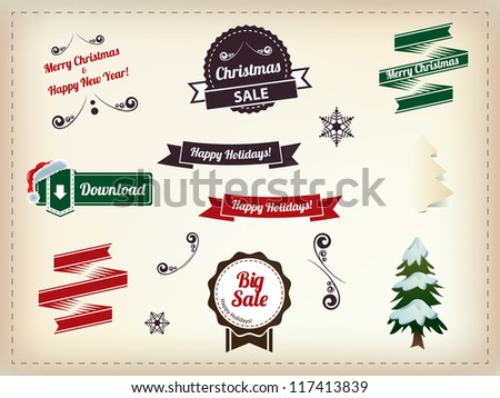 Christmas decoration collection - Set of calligraphic and typographic elements, vintage labels. Ribbons, stickers, Santa's hat, snowman - stock vector
