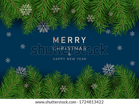 Christmas decoration element. Christmas tree branches background. Green colorful pine pattern. Vector illustration