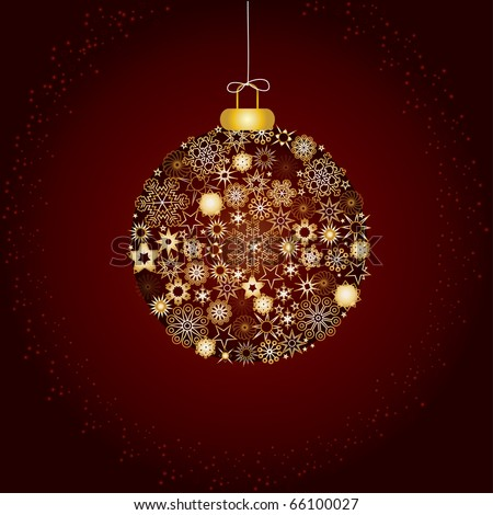 Christmas decoration, fir tree bauble made from gold and golden snowflakes on brown background, Christmas greetings card, vector illustration  Merry Christmas and a Happy New Year! - stock vector