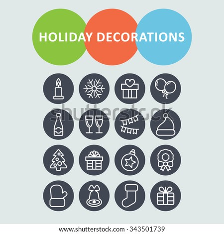 Christmas decoration icons. Holiday icons. Celebration icons. Winter holiday. Christmas pictogram. Holiday pictogram.