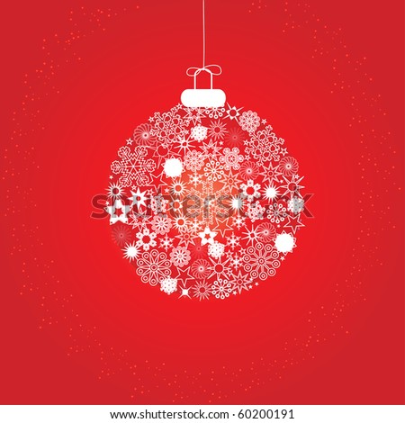 Christmas decoration made from red and white snowflakes, vector illustration