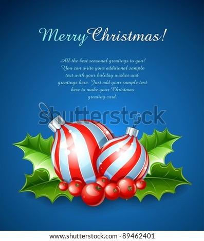 christmas decoration of ball and holly leaves vector illustration on blue background - stock vector