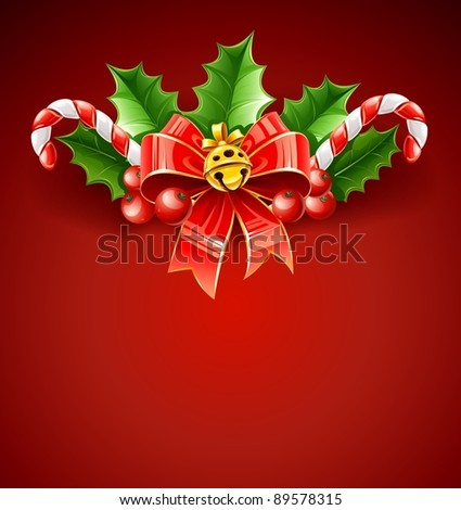 christmas decoration of red bow with gold bell and holly leaves vector illustration on red background