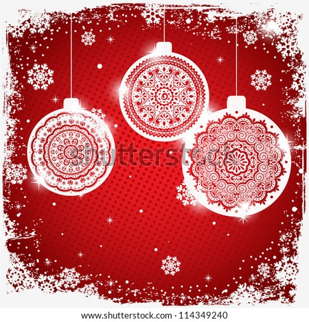 Christmas decoration on the red background