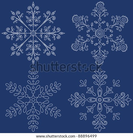 Christmas decoration: set white snowflakes on blue background. Vector
