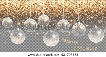 christmas decoration transparent background new year ball holiday lights sparkle vector