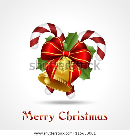 christmas decoration, two candy-canes with branches of holly, golden bell  and red ribbon on white background, vector illustration, eps10