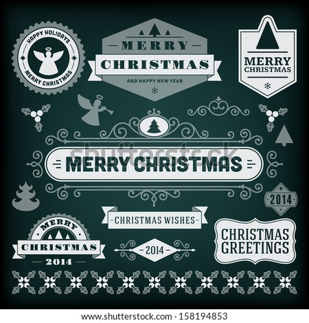 Christmas decoration vector design elements collection. Typographic elements, vintage labels, frames, ribbons, chalk set. Flourishes calligraphic.
