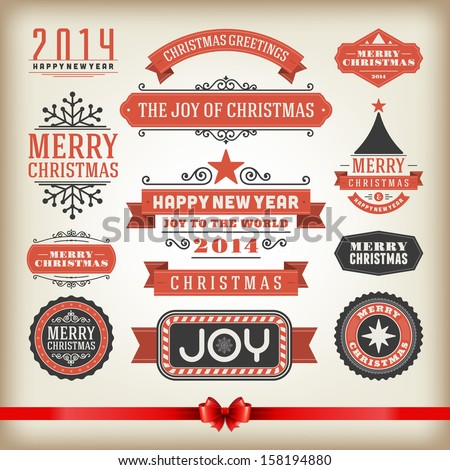 Christmas decoration vector design elements collection. Typographic elements, vintage labels, frames, ribbons, set. Flourishes calligraphic.