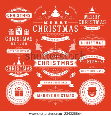 Christmas Decoration Vector Design Elements Merry Christmas and happy holidays wishes.Typographic elements vintage labels frames ornaments and ribbons set Flourishes calligraphic