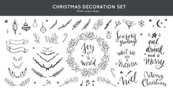 Christmas decoration vector hand drawn set.  Set  doodle festive laurels and brunches, wreath for Christmas, New Year. Handwritten Lettering, inspirational quotes