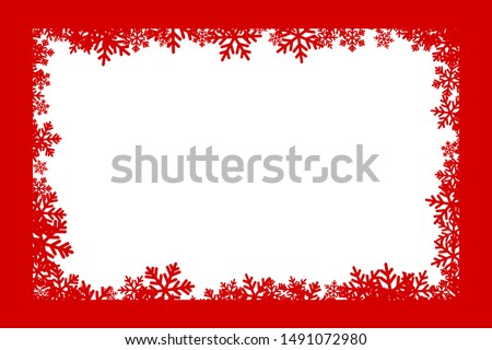 Christmas decoration. Winter holiday design element with snowflakes. Vector ornamental frame.