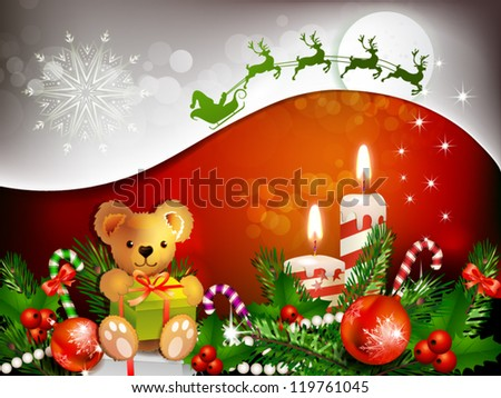 Christmas decoration with candles , pine tree and balls