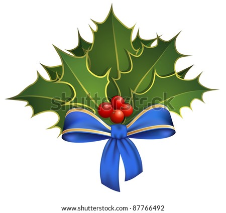 Christmas decoration with holly branches and blue bow