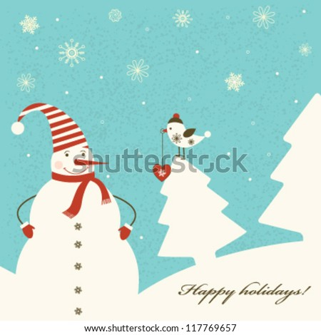 Christmas decoration with snowman on blue background. Vector