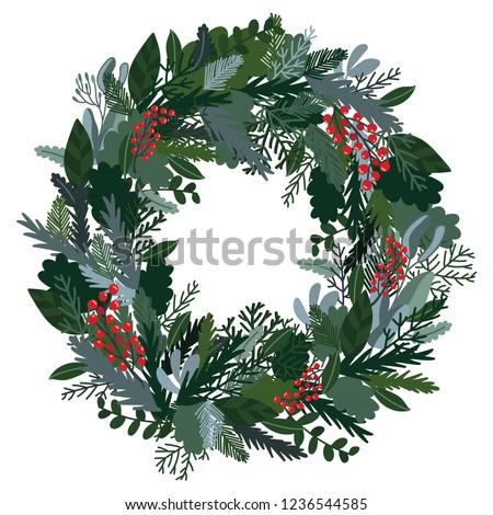 Christmas decoration wreath, evergreen branches, pine, berries, door wreath. Christmas wreath