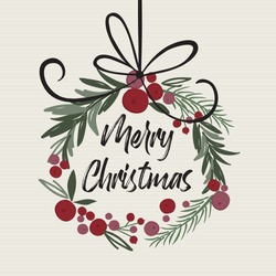 Christmas decoration wreath with Merry Christmas letter, Christmas traditional vector illustration